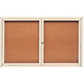 "Aarco 2 Door Framed Enclosed Bulletin Board Ivory Powder Coat - 60""W x 36""H"
