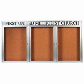 "Aarco 3 Door Aluminum Framed Bulletin Board w/ Header, Illuminated - 72""W x 36""H"
