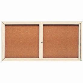 """Aarco 2 Door Framed Enclosed Bulletin Board 72""""W x 36""""H by"""