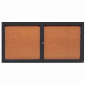 "Aarco 2 Door Framed Illuminated Enclosed Bulletin Board Bronzed Anod. - 72""W x 36""H"