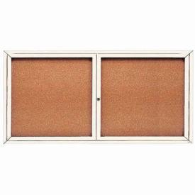 "Aarco 2 Door Framed Enclosed Bulletin Board White Powder Coat - 72""W x 36""H"