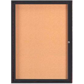 "Aarco 1 Door Framed Enclosed Bulletin Board Bronzed Anod. - 36""W x 48""H"