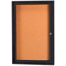 "Aarco 1 Door Framed Enclosed Bulletin Board Black Powder Coat 36""W x 48""H by"