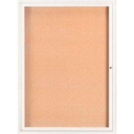 "Aarco 1 Door Framed Enclosed Bulletin Board White Powder Coat - 36""W x 48""H"