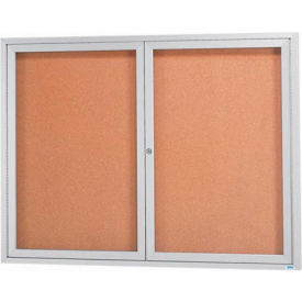 "Aarco 2 Door Framed Illuminated Enclosed Bulletin Board - 60""W x 48""H"