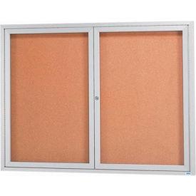 "Aarco 2 Door Framed Illuminated Enclosed Bulletin Board - 60""W x 48""H"