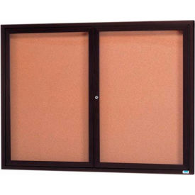 "2 Door Framed Illuminated Enclosed Bulletin Board Bronzed Anod. - 60""W x 48""H"