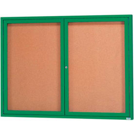 "2 Door Framed Illuminated Enclosed Bulletin Board Green Pwdr. Coat - 60""W x 48""H"