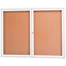 "Aarco 2 Door Framed Enclosed Bulletin Board White Powder Coat - 60""W x 48""H"