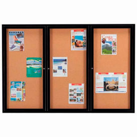 "Aarco 3 Door Framed Enclosed Bulletin Board Black Powder Coat - 72""W x 48""H"