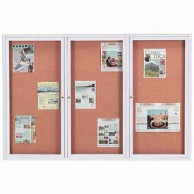 "Aarco 3 Door Framed Illuminated Enclosed Bulletin Board - 72""W x 48""H"