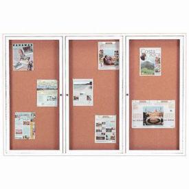 "Aarco 3 Door Framed Enclosed Bulletin Board White Powder Coat - 72""W x 48""H"