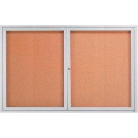 """Aarco 2 Door Framed Enclosed Bulletin Board 72""""W x 48""""H by"""