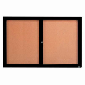 "Aarco 2 Door Framed Enclosed Bulletin Board Black Powder Coat - 72""W x 48""H"