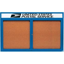 "Aarco 2 Door Alum Framed Bulletin Board w/ Header, Illum Blue Pc - 72""W x 48""H"