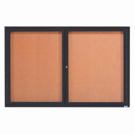 "2 Door Framed Illuminated Enclosed Bulletin Board Bronzed Anod. - 72""W x 48""H"