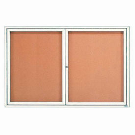 "Aarco 2 Door Framed Enclosed Bulletin Board White Powder Coat - 72""W x 48""H"