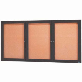 "Aarco 3 Door Framed Enclosed Bulletin Board Bronzed Anod. - 96""W x 48""H"