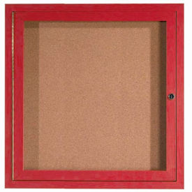 "1 Door Frame Wood Look, Oak Enclosed Bulletin Board - 36""W x 36""H"