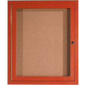 "1 Door Frame Wood Look, Cherry Enclosed Bulletin Board - 30""W x 36""H"