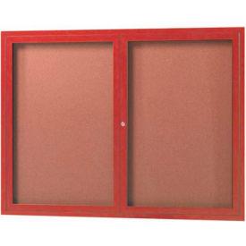"Aarco 2 Door Frame Wood Look, Cherry Enclosed Bulletin Board - 48""W x 36""H"