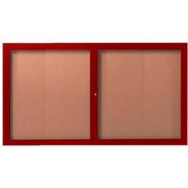 "Aarco 2 Door Frame Wood Look, Cherry Enclosed Bulletin Board - 60""W x 36""H"