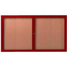 "Aarco 2 Door Frame Wood Look, Cherry Enclosed Bulletin Board - 60""W x 36""H"