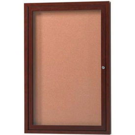 "Aarco 1 Door Frame Wood Look, Walnut Enclosed Bulletin Board - 18""W x 24""H"