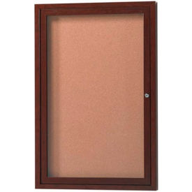 "Aarco 1 Door Frame Wood Look, Walnut Enclosed Bulletin Board - 24""W x 36""H"
