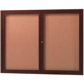 "Aarco 2 Door Frame Wood Look, Walnut Enclosed Bulletin Board - 48""W x 36""H"