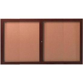 "Aarco 2 Door Frame Wood Look, Walnut Enclosed Bulletin Board - 60""W x 36""H"