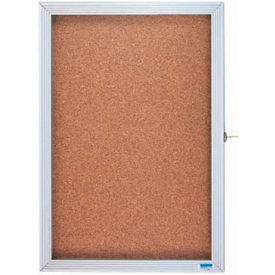 "Aarco 1 Door Enclosed Bulletin Board Cabinet - 18""W x 12""H"