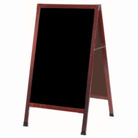 """Aarco Solid Oak Wood w/ Cherry Finish A-Frame Sidewalk Black Chalkboard - 24""""W x 42""""H"""