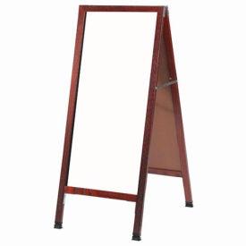 "Aarco Solid Cherry Finish A-Frame Sidewalk White Marker Board - 18""W x 42""H"