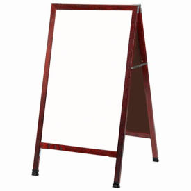 "Aarco Solid Cherry Finish A-Frame Sidewalk White Marker Board - 24""W x 42""H"