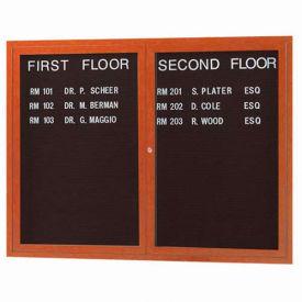 "Aarco 2 Door Aluminum Frame Wood Look, Oak Enclosed Letter Board - 48""W x 36""H"