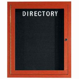 "Aarco 1 Door Aluminum Frame Wood Look, Cherry Enclosed Letter Board - 30""W x 36""H"
