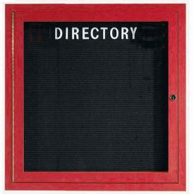 "Aarco 1 Door Aluminum Frame Wood Look, Cherry Enclosed Letter Board - 36""W x 36""H"