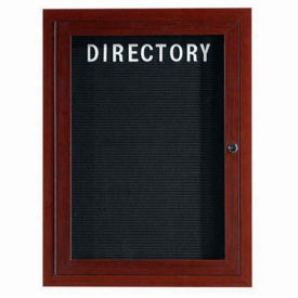 "Aarco 1 Door Aluminum Frame Wood Look, Walnut Enclosed Letter Board 18""W x 24""H by"