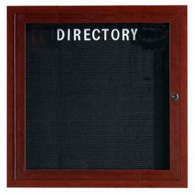 "Aarco 1 Door Aluminum Frame Wood Look, Walnut Enclosed Letter Board 36""W x 36""H by"