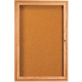 """Aarco 1 Door Oak Enclosed Bulletin Board - 18""""W x 24""""H"""