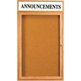 "Aarco 1 Door Oak Enclosed Bulletin Board w/ Header - 24""W x 18""H"