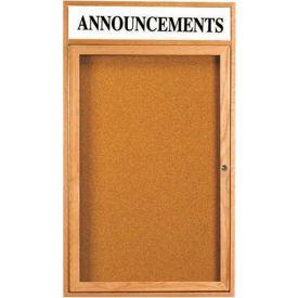 """Aarco 1 Door Oak Enclosed Bulletin Board w/ Header - 24""""W x 18""""H"""