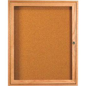"""Aarco 1 Door Oak Enclosed Bulletin Board - 30""""W x 36""""H"""