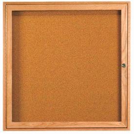"""Aarco 1 Door Oak Enclosed Bulletin Board - 36""""W x 36""""H"""