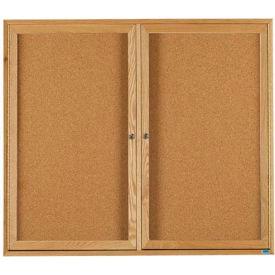 """Aarco 2 Door Oak Enclosed Bulletin Board - 48""""W x 36""""H"""