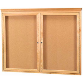 "Aarco 2 Door Red Oak Bulletin Board w/ Crown Molding - 48""W x 36""H"