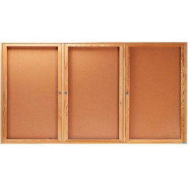"Aarco 3 Door Oak Enclosed Bulletin Board - 72""W x 36""H"