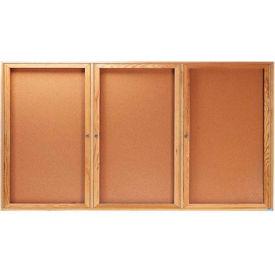 """Aarco 3 Door Oak Enclosed Bulletin Board - 72""""W x 36""""H"""