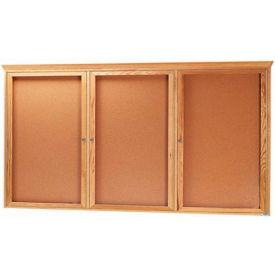 """Aarco 3 Door Red Oak Bulletin Board w/ Crown Molding - 72""""W x 36""""H"""
